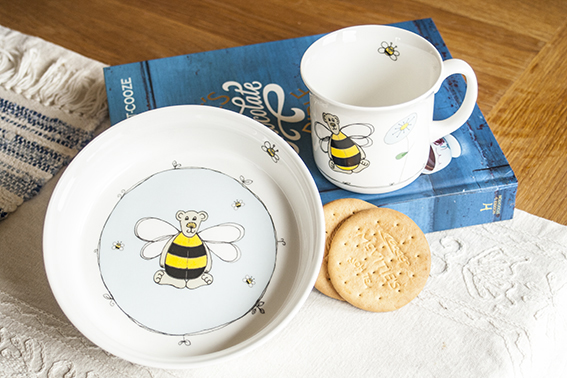 Bugbear bumblebee set. The ceramic decals have been cut out, applied to the bone china and fired