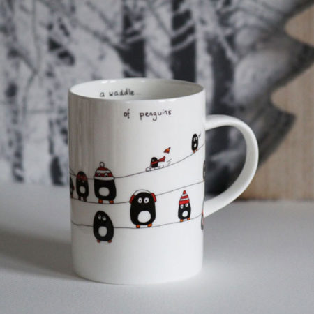 A waddle of penguins mug with colour