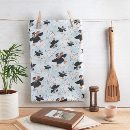 Puffin squadron tea towel