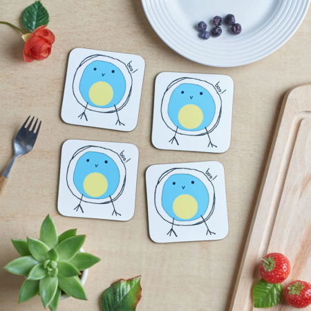 Bluetit boo coaster set