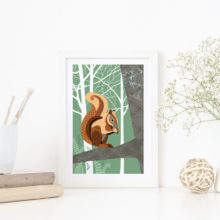 Red squirrel A4 print