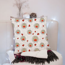 Blob bird robin cushion