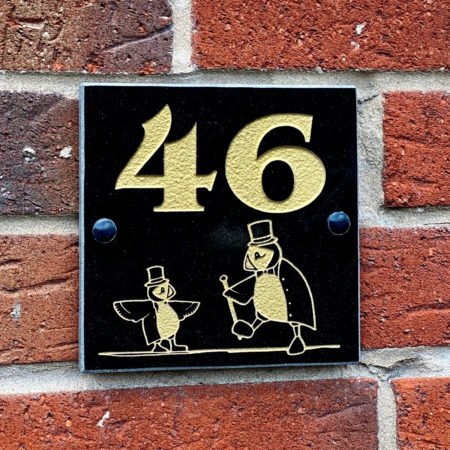 Dapper puffin granite house number