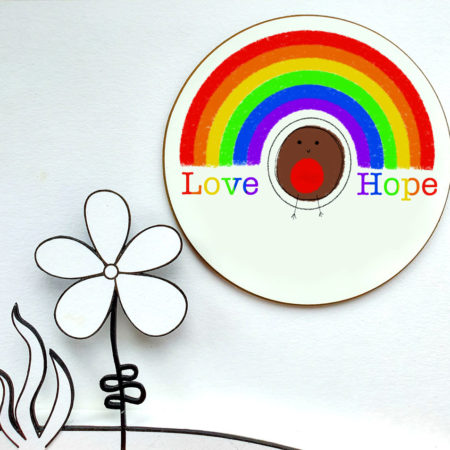 Robin rainbow coaster set