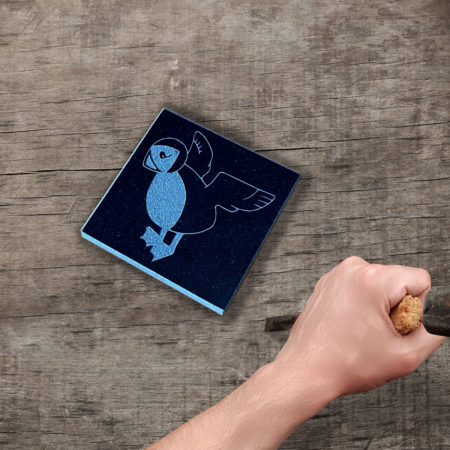 Flying puffin granite coaster