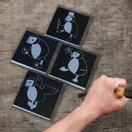 Puffin characters granite coaster set