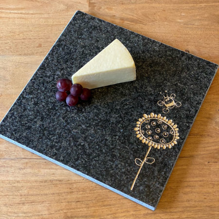 Sunflower and bee granite chopping board